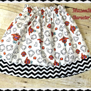 Girls Baymax skirt Six Hero 6 girls skirt 2t 3t 4t 4/5 6/6x 7/8 10/12 Ready to Ship