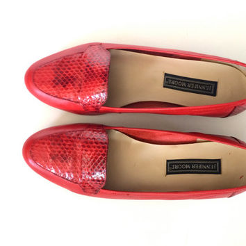 Red Leather Loafers Snakeskin Red Leather Flats Slip Ons Jennifer Moore Size 7.5M Fine Leather Womens Vintage Shoes Gypsy
