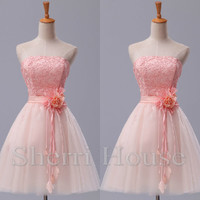 AppliqueStrapless Flower A-Line Short Bridesmaid Celebrity dress ,Tulle Evening Party Prom Dress Homecoming Dress