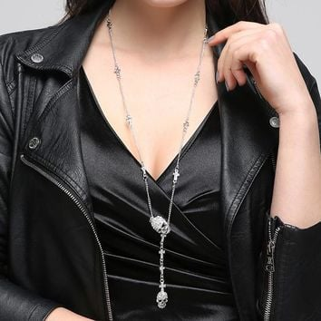 Skull Cross crystal Pendant Necklace Gothic Long Necklaces for Women Hip Hop Punk Accessories Jewelry