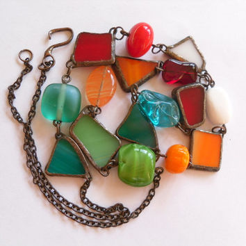 Statement necklace stained glass copper wire multi colored colorful beaded jewelry Frolicsome