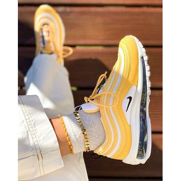 Nike Air Max 97 Hot Sale Couple Leisure Air Cushion Yellow Gym Sport Running Shoes Sneakers