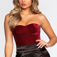 Ruby Bodysuit - Burgundy Velvet