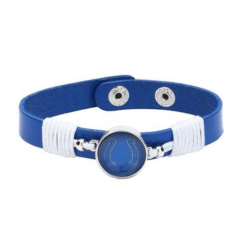 10pcs/lot! Adjustable Premium Leather Ginger Snaps Bracelet with a Indianapolis Colts 18mm Snap  for Men,Women and Teens