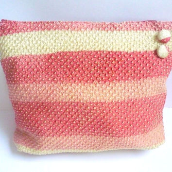 Coral pink makeup bag, Pink ombre zipper pouch, pink silk cosmetic bag, pink evening bag of Japanese fabric