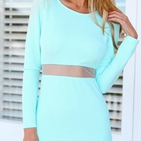 Mint Green Scoop Neck Long Sleeve Cut Out Waist Bandage Bodycon Mini Dress
