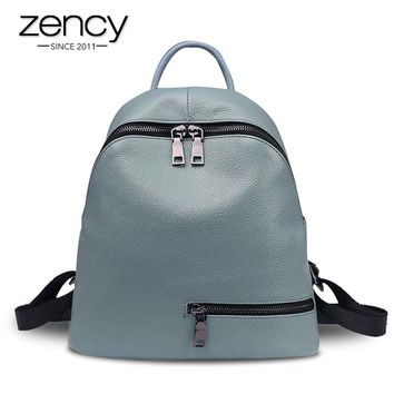Asymmetric Zip Leather Backpack