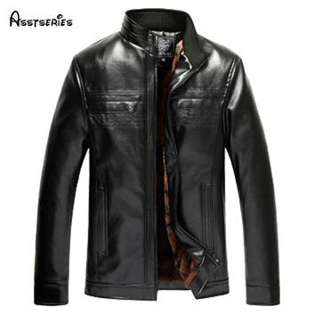 2018 new arrival Men's fashion male high qulaity casual leather jacket thickening outerwear man thick plus size 47hfx