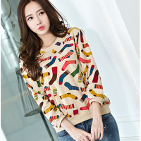 Women Girl Cute Colorful Socks Printing Pattern Casual Loose Tops Pullover Sweatshirt Blouse