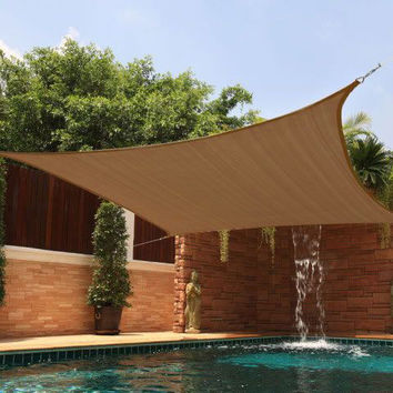 New Premium Clevr Sun Shade Canopy Sail 20'X16' Rectangle UV Outdoor Patio Brown