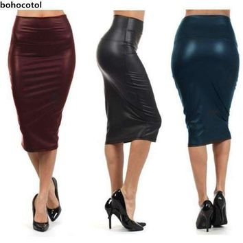 Bohocotol Women Plus Size High-Waist Faux Leather Pencil Skirt Black Leather Skirt S/M/L/Xxxl
