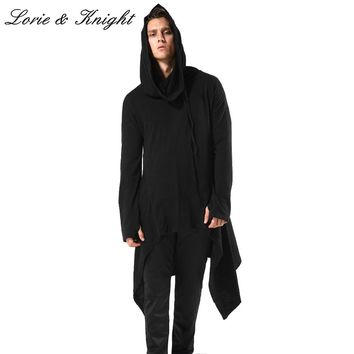 Men's 100% Cotton Asymmetrical Loose Fit Oversized Pullover Long Hoodie Gothic Hooded Sweatshirts
