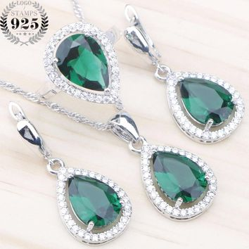 Silver 925 Costume Jewelry Sets Women Green Zircon Pendant Necklace Rings Hanging Earrings with Stone Bridal Set Gift Box