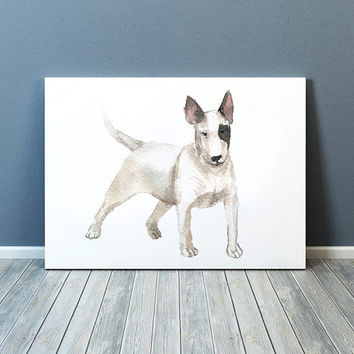 Bull terrier poster Watercolor dog print Cute nursery decor ACW96