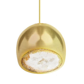 LED Geode Brass Leafed Gem & Porcelain Mini Clay Pendant Light