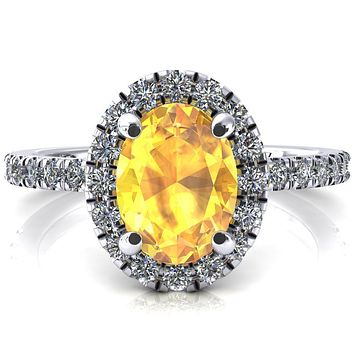 Talia Oval Yellow Sapphire 4 Prong Halo 3/4 Micropave Engagement Ring