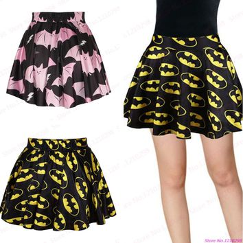 Black Gold Batman Mini Skirts Ladies Popular Printed Pink Bat Pleated Minskirts Slim Sports Skirts Tennis Skirts Femininas Saias
