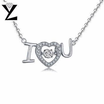 YL Love Heart 925 Sterling Silver Topaz Necklace for Women with Dancing Natural Topaz Stone Necklace Wedding Fine Jewelry