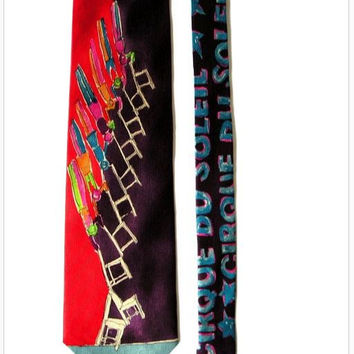 "Unique 1987 CIRQUE du SOLEIL World Premiere Ltd Edition Silk Necktie ""Stacking Chairs Acrobatic Act""- Rare Collectible"