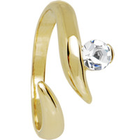 Solid 14K Yellow Gold Solitaire Cubic Zirconia Toe Ring | Body Candy Body Jewelry