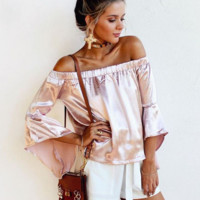 A shoulder sleeve like silk blouse top blouse shirt