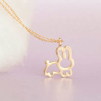 Gold Bunny Necklace, Gold Rabbit Necklace, Bunny Rabbit, Whimsy Necklace