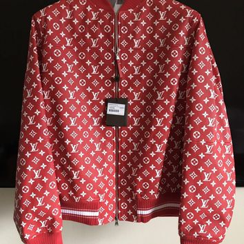 One-nice™ Supreme X Louis Vuitton Red Leather Blouson SKU 1A3FBF Monogram Bomber Jacket XL