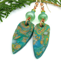 Caribbean Opal Summer Earrings, Mokune Gane Lampwork Crystals Handmade Jewelry for Women