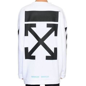 ac NOVQ2A OFF-WHITE autumn and winter new arrow striped crewneck sweater White