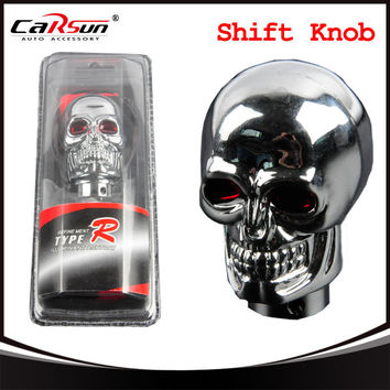 Chrome Metal Alloy Skull Shape Car Gear Shift Knob Manual Shift