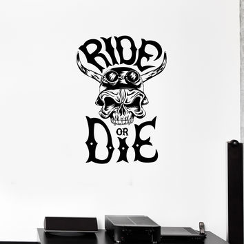 Wall Decal Skeleton Skull Racer Road Driver Horn Ride Vinyl Sticker Unique Gift (ed683)