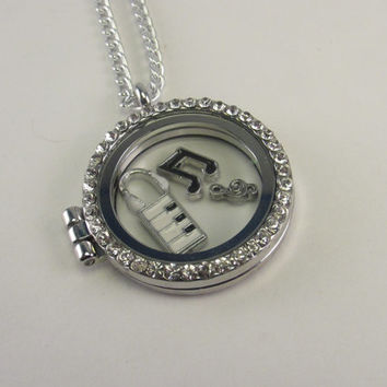 Music Lovers Story Locket, Rhinestone Locket With Piano, Staff Cleft, Headphones and Music Notes