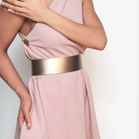 Light rose gold leather look wide flat high waist belt -metal base - elastic back snap closure