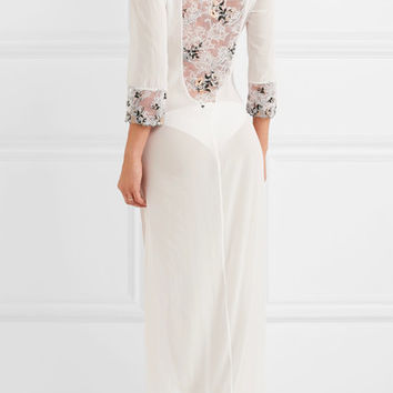 La Perla - Hampton Court embroidered lace-paneled stretch-silk georgette nightdress
