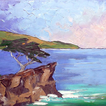 Impressionist Painting Plein Air Landscape Monterey Bay LONE CYPRESS Pacific Ocean Lynne French 16x20