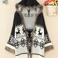 Christmas deer national wind patterns hooded sweater coat BBBB