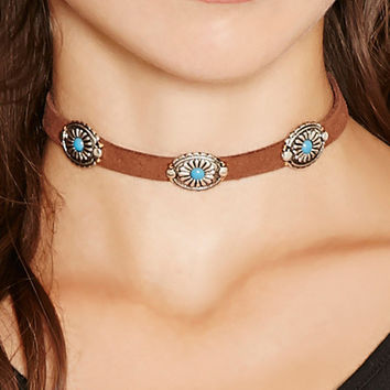 2016 Ethnic Vintage Leather Choker Necklace Women Bohemian Chokers Necklace Turquoise Flower Chocker Boho Collier ras de cou