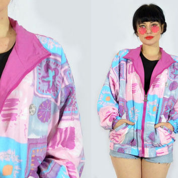 vintage 90s pastel grunge jacket kawaii pink purple windbreaker floral abstract novelty zip up jacket 1990s medium