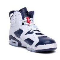 Mens Nike Air Jordan 6 Retro Olympic Edition Basketball Shoes White / Midnight Navy / Varsity Red 384664-130 Size 11