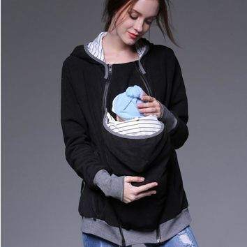 Fashion Multi-functional Hoodies Mother Kangaroo Baby Pocket Clothes for Pregnant Women Coat Winter Sweater Women Clothing