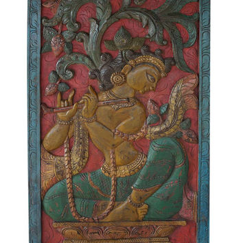 Vintage Panel Krishna Fluting under Wish fulfilling Tree Wall Sculpture , Barn Door, artisan Decor eclectic conscious design