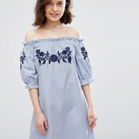 Parisian Off Shoulder Stripe Dress With Embroidery at asos.com