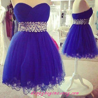 Short beaded navy blue backless prom dress/ cheap bridesmaid dress/ cocktail dress/ formal dress/ wedding dress