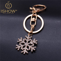 2016 Hot fashion snowflake keychain cubre llaves llaveros gold plated keyring for women jewelry gift cute key chain porte clef