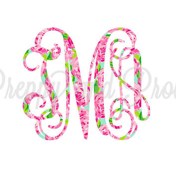 Lilly Pulitzer Inspired Monogrammed Decal Sticker, Monogram Decal, Monogram Sticker, Laptop Decal, Phone Decal, Yeti Decal, Monogrammed