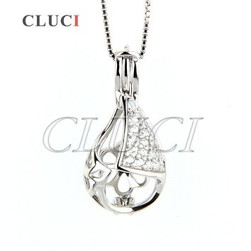 CLUCI Water Drop 925 sterling silver cage pendant hollowed cone ball locket necklace pendant 3pcs