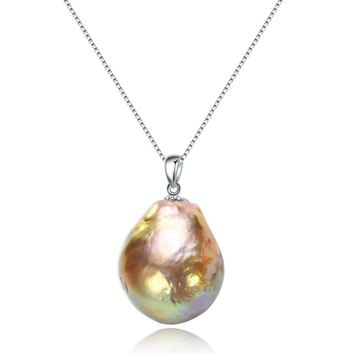 SNH Pearl Pendant 16mm baroque Freshwater Pearl Pendant 925-Silver-Jewelry Fine Jewelry Gift For Women