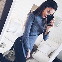 Women Ladies Clothes Dresses Long Sleeve Knitted Sweater Clothing Outfits Mini Dress Slim Pullover Casual Fashion Lady