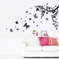 Home Removable Recycling Wall Sticker (Black Tree Black Butterfly with White Flowers) (BLACK/WHITE, 1)