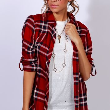 Plaid Not Sad Top Red